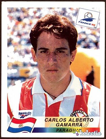 A figurinha de Gamarra na Copa de 1998: estrela absoluta e melhor zagueiro do mundial.