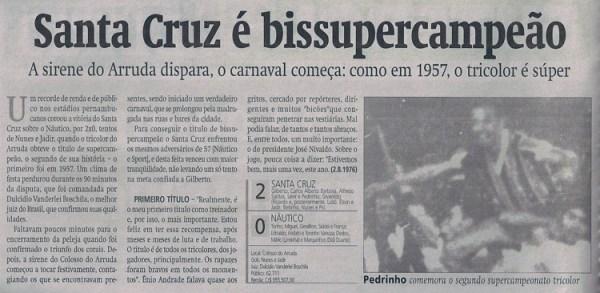 Jornal destaca o título do Santa Cruz em 1976.