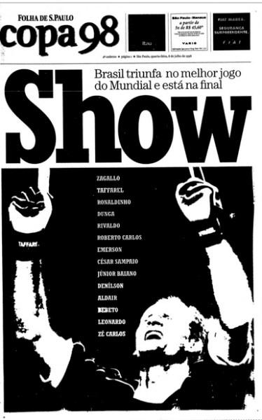 Goleiro brasileiro foi destaque na Folha de S.Paulo do dia 08 de julho de 1998.