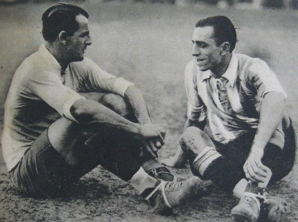 Nasazzi e Fernando Paternoster, craque argentino, em 1929.