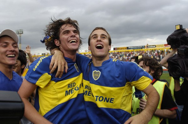 Insúa e Palacio: estrelas do ataque boquense em 2005.