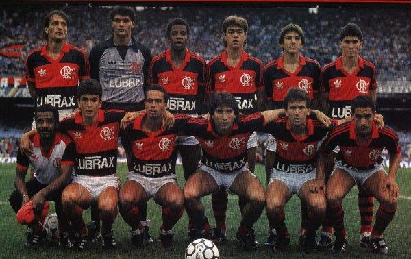O Fla de 1987 - Em pé: Leandro, Zé Carlos, Andrade, Edinho, Leonardo e jorginho; Agachados: Bebeto, Aílton, Renato Gaúcho, Zico e Zinho.