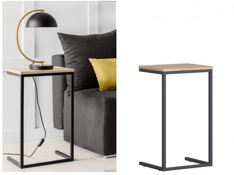 industrial narrow over arm oak finish side table laptop coffee table metal frame loft style gamla l79 dst gok kpl01