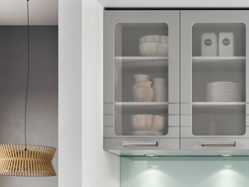 Light Grey Kitchen Wall Cabinet With Glass Doors 80cm Cupboard Unit Impact Furniture