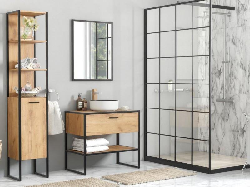 industrial loft oak bathroom furniture set tall shelving unit 90cm vanity cabinet countertop sink brooklyn brooklyn 800 827 basin set