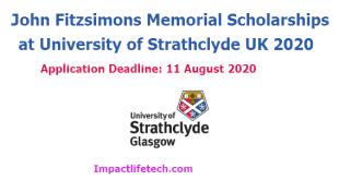 John Fitzsimons Memorial Scholarships at University of Strathclyde UK