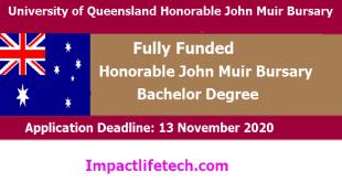University of Queensland Honorable John Muir Bursary in Australia