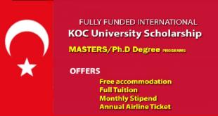 Fully Funded Scholarship at KOC university in Turkey