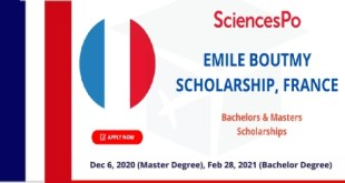 Fully Funded Emile Boutmy Scholarships in France 2021
