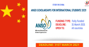 Fully Funded ANSO Scholarship in China 2021
