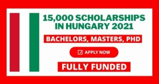Fully Funded 15,000 Scholarships in Hungary 2021