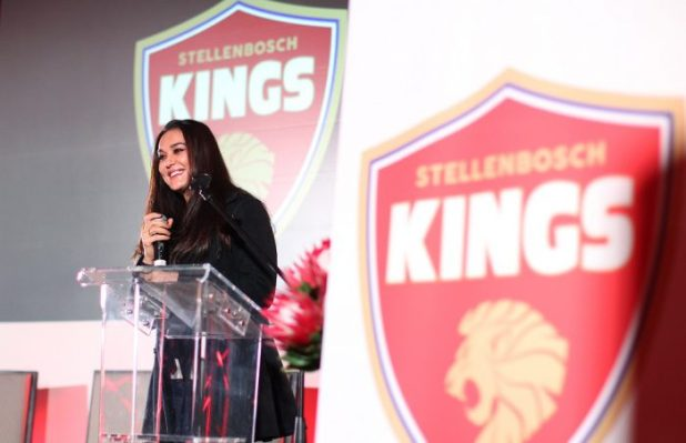 PAARL, SOUTH AFRICA - SEPTEMBER 13: Owner of the Stellenbosch Kings Preity Zinta during the Stellenbosch Franchise function and Media Briefing at Val de Vie Estate on September 13, 2017 in Paarl, South Africa. (Photo by Petri Oeschger/Gallo Images)