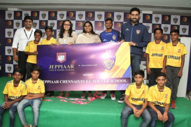 Image result for Actor Abhishek Bachchan Launched Chennaiyin Fc Soccer School At Jeppiaar Engineering College