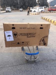 Packed bicycle at Srinagar International Airport