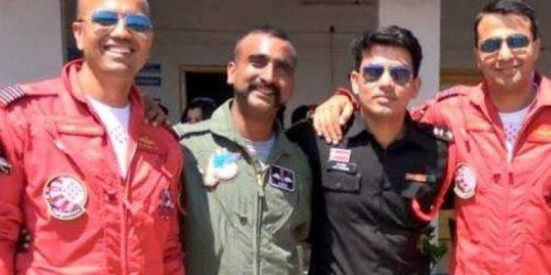 IAF pilot Abhinandan Varthaman - second From left . Photo : Twitter
