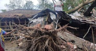 Homes destroyed in Satkhira, Bangladesh, by Cyclone Bulbul [image courtesy: Jago Nari]