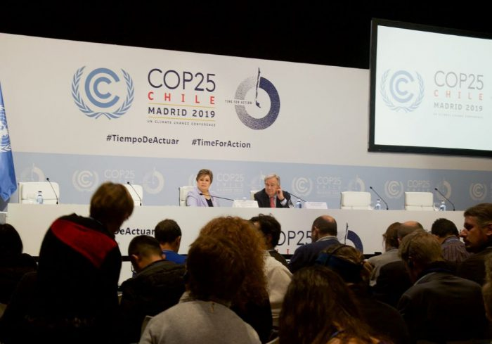 Secretary General Antonio Guterres and Executive Secretary Patricia Espinosa taking questions on the first day of the conference [image by: UNclimatechange / Flickr]