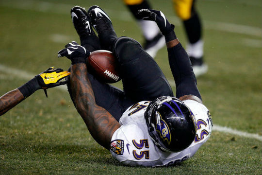 The first of the two interceptions, caught by Terrell Suggs between his knees. A big play when you knee-d it...