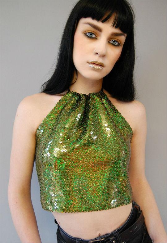 green glitter halter