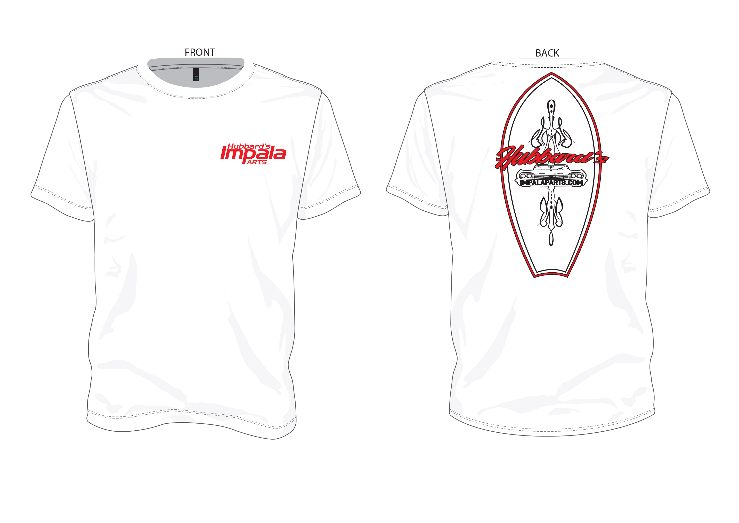 Hubbards Impala Parts T Shirt 2 Xl White