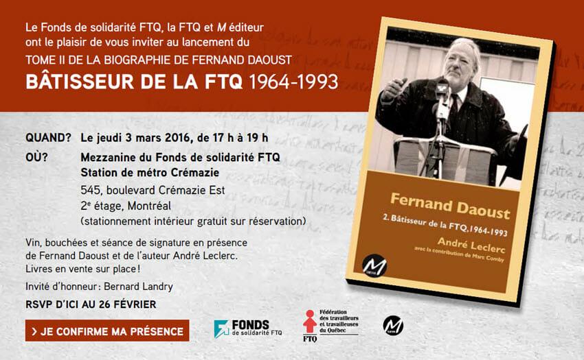 INVITATION-Lancement Tome 2 Biographie de Fernand Daoust