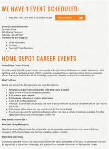 Home Depot Hiring Event