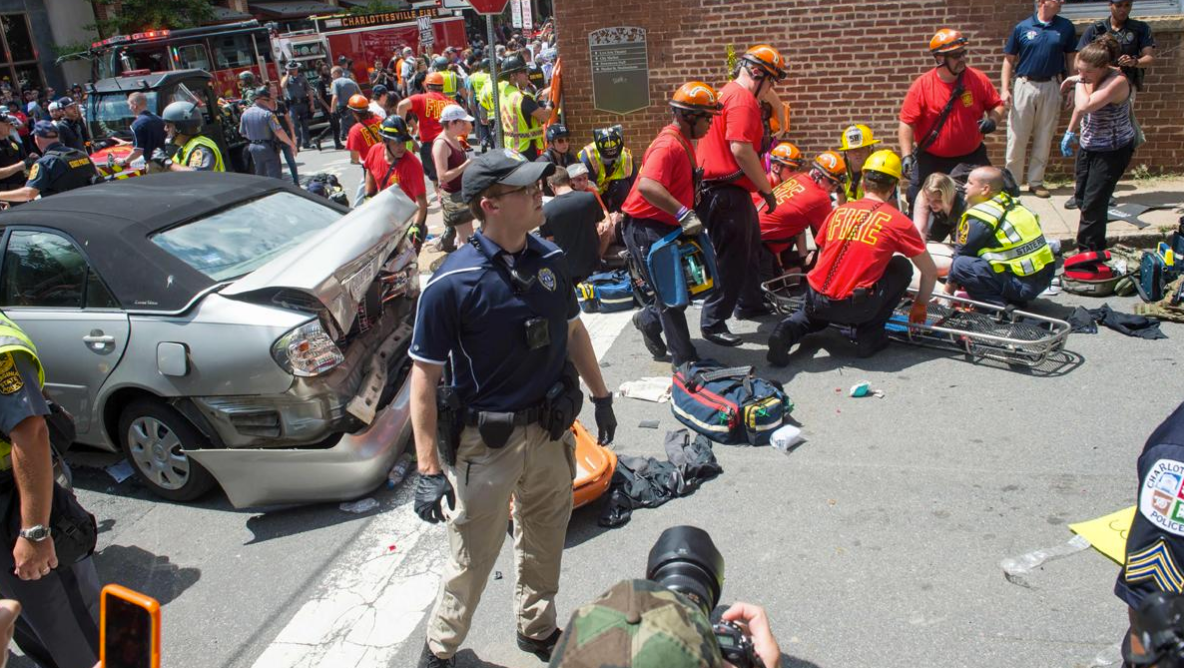 Car rams into counter protestors in Charlottesville, Virginia