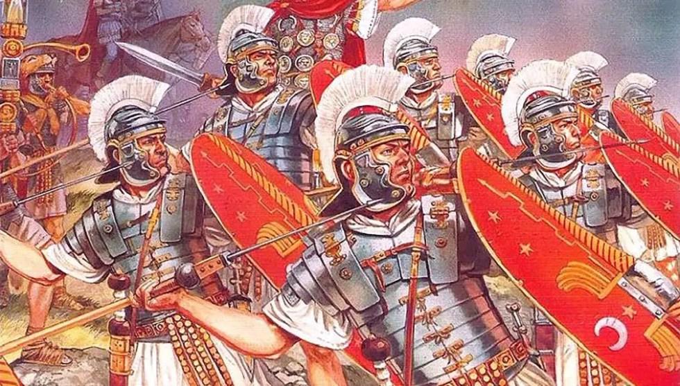 Ilustración de soldados pretorianos en batalla.