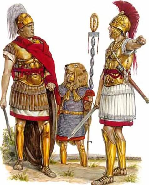 En la imagen se ven tres hombres, uno es el cónsul romano al cual se lo distingue por su penacho blanco.