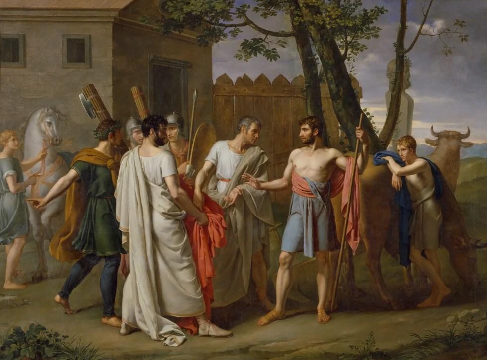 Senadores romanos le piden a Cincinato que se vuelva dictador. En el cuadro aparecen los hombres, toros y caballos.
