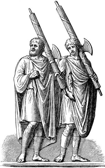Lictores portando sus fasces. Estos eran los protectores de los cónsules romanos.