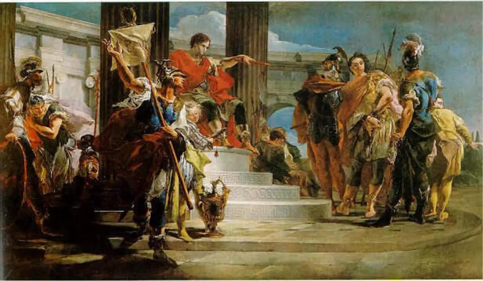 Grupo de personas escuchando las ordenes de un pretor romano.