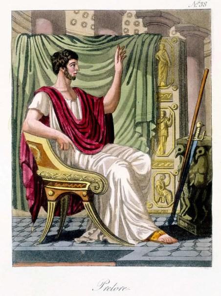 Ilustración de un pretor romano sentado en una silla.