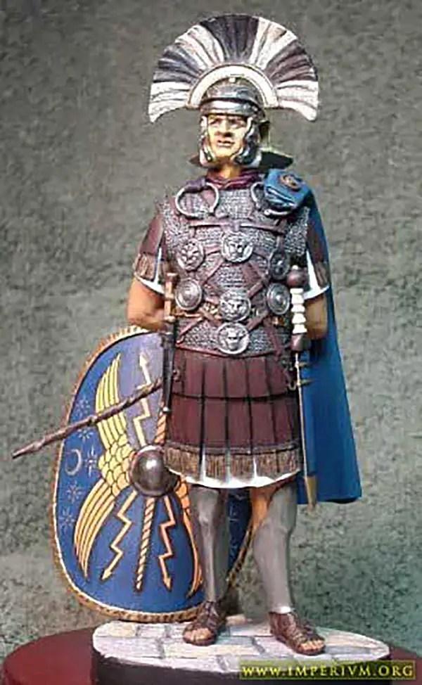 Fotografía de un modelo a escala de un centurión pretoriano.