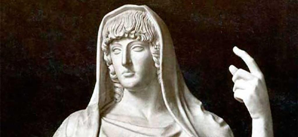 Fotografía de la estatua de la diosa Vesta.