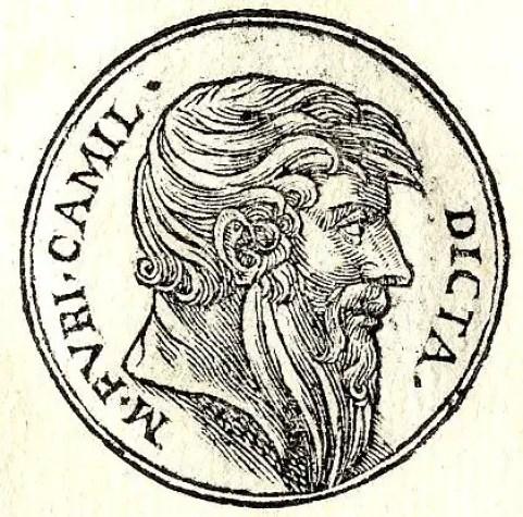 Ilustración de la cara de una moneda en honor a Marco Furio Camilo.