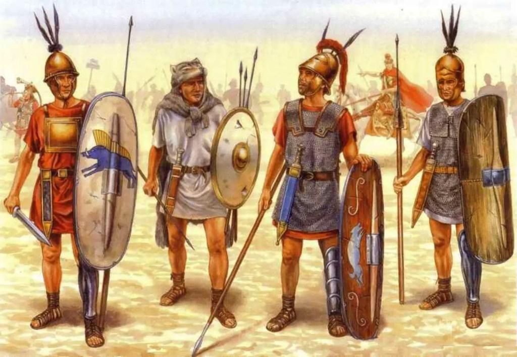 Ilustración de los soldados de la república romana temprana.