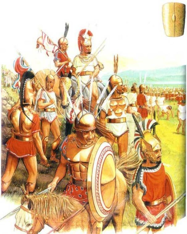 Ilustración mostrando a los romanos derrotados por los samnitas.