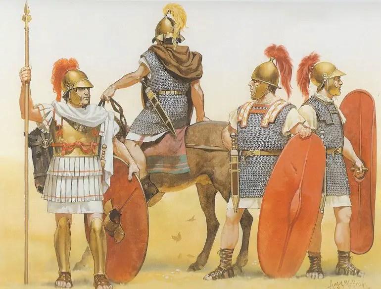 Ilustración mostrando las armaduras de los soldados de la joven Reoública Romana.