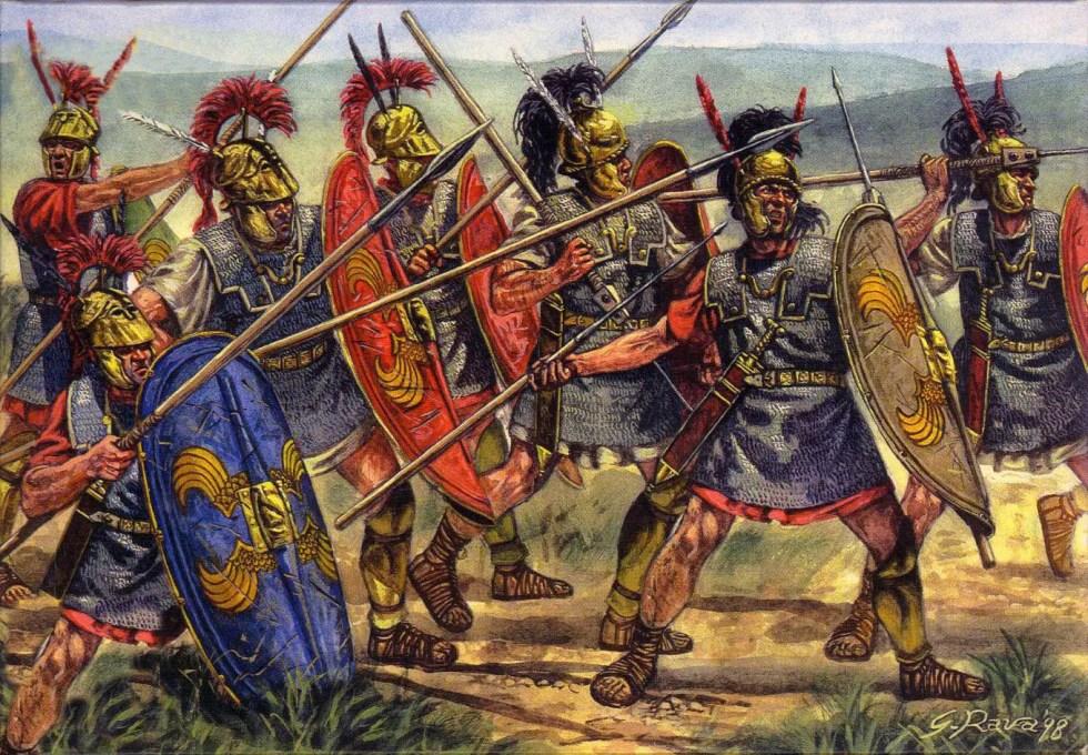 Ilustración de soldados romanos en combate.