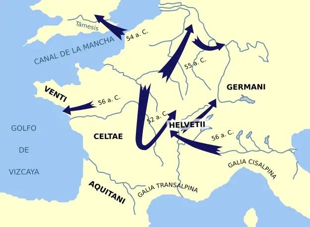 Mapa de movimientos y avances durante la Guerra de las galias.