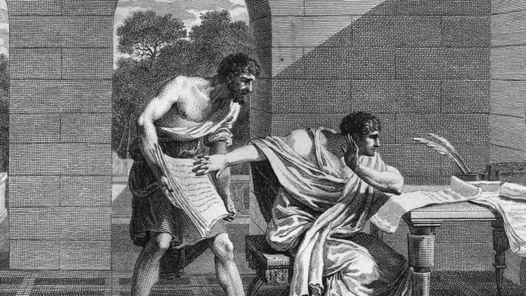 Grabado antiguo de la muerte de Craso.