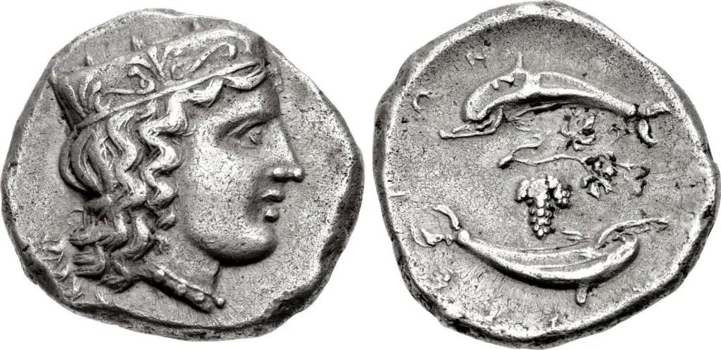 Moneda de Argolis en cuya cara se encuentra reflejada la diosa Hera.