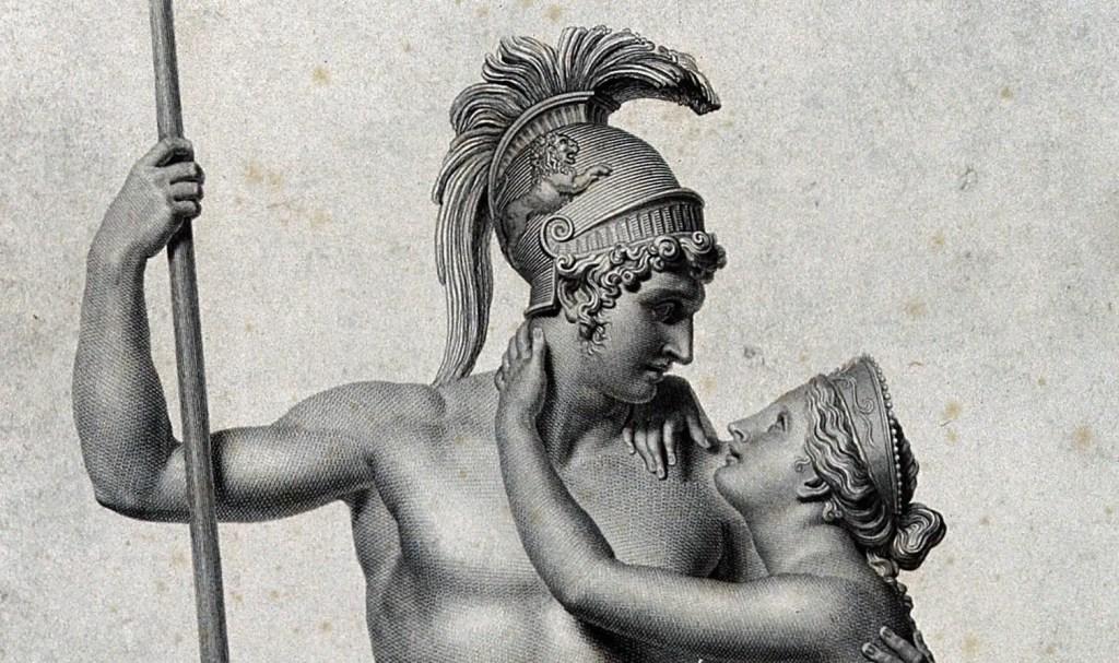 Grabado de Marte (Ares) y Venus (Afrodita) por D. Marchetti.