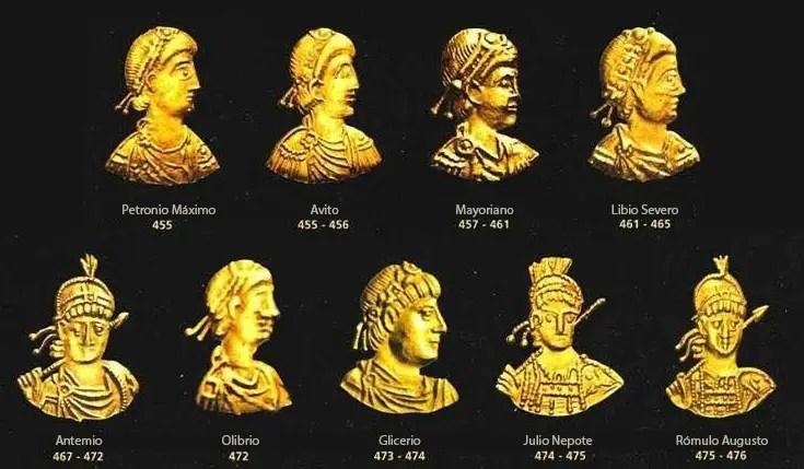 Los rostros de los últimos emperadores romanos de Occidente.