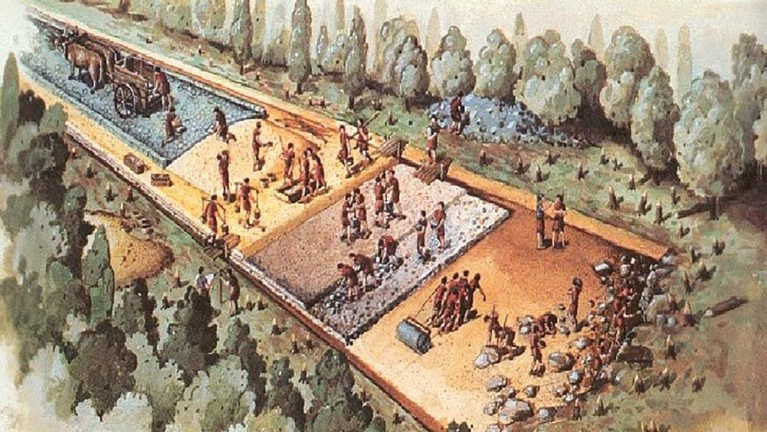 Construcción de un camino romano. Los mismos se medían en medidas de longitud romanas.