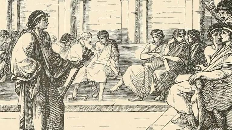 Ilustración de dos Cónsules en sesión.