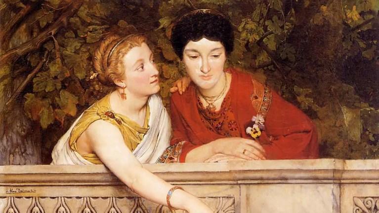 Pintura de dos mujeres romanas.