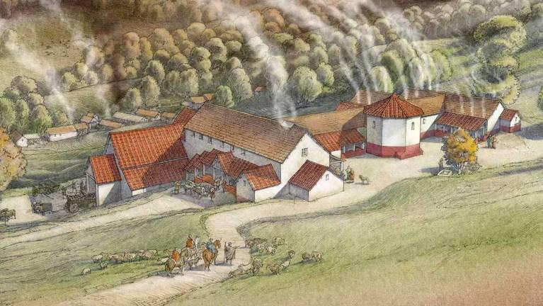 Ilustración de una finca romana. Tratado de agricultura.