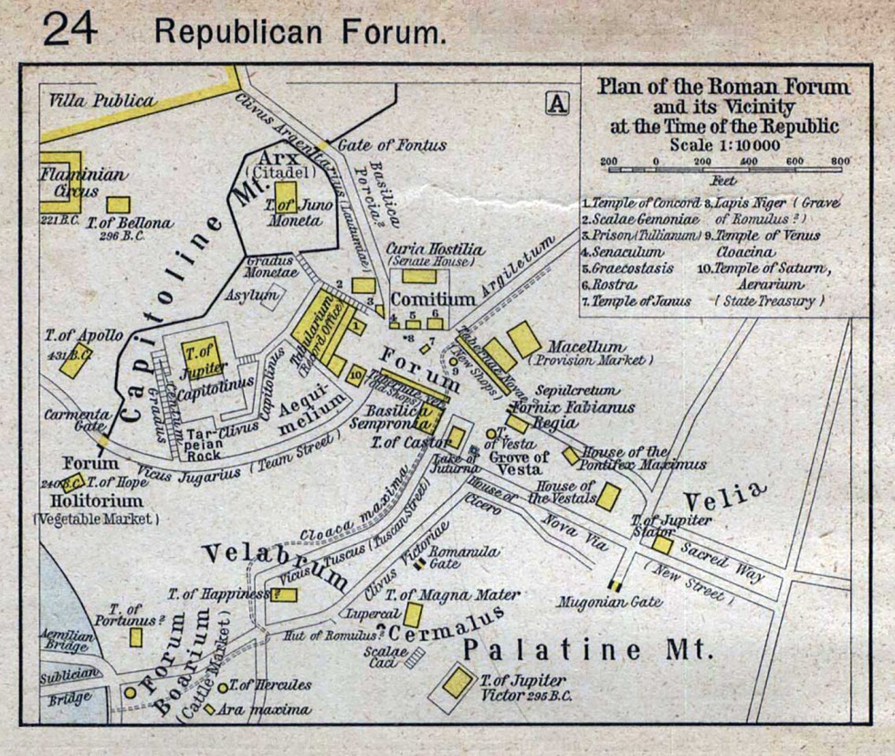 Mapa del foro romano durante la época de la República romana.